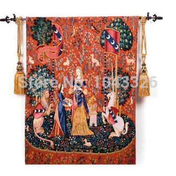 ESBU3C Belgium medieval art woven home textile unicorn series noblewoman 138*105cm aubusson wall hanging tapestry pt-2
