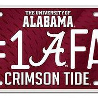"ALABAMA CRIMSON TIDE 6""x12"" METAL #1 FAN LICENSE PLATE CAR NEW  SHIPPING"