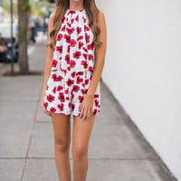 Wonderland Flowy Halter & Shorts Two Piece Set (Red Poppy)