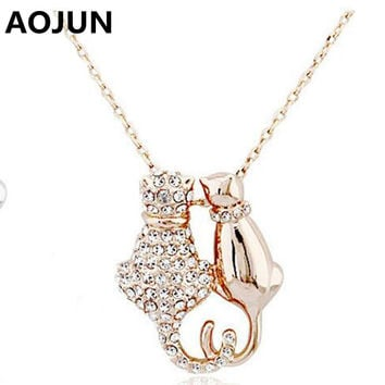 Lovely Couple Cat Pendant Necklace Gold/Silver Plated Austrian Crystals Necklace Womens 2017 Fashion Cute Animal Jewelry AQ95