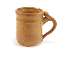 Brown pottery coffee mug, clay coffee cup, pottery cup with thumb imprint