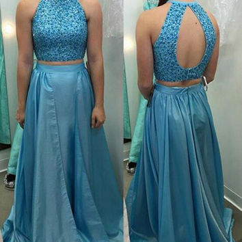 A-Line Blue Beading Sleeveless Prom Dresses,Prom Dress