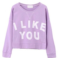 Long Sleeves Letters Printed T-shirt