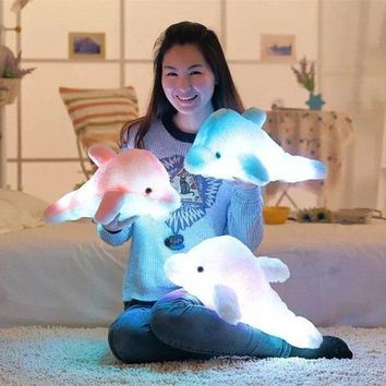 SOFO Colorful LED Light Dolphin Plush Toy Creative Throw Pillow Doll Festival Gift