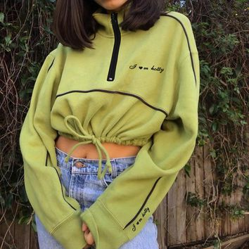 Women Casual Drawstring Long Sleeve Zip Turtleneck Sweater Loose Crop Tops