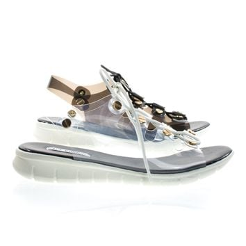Like1 By Cape Robbin, PVC Clear Lace Up Cage Flat Sandal w Metal Hardware & White Rubber Outsole