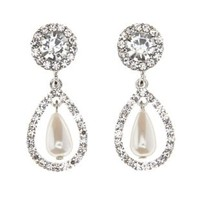 Silver Rhinestone & Pearl Drop Earrings by Charlotte Russe