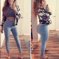 Women's autumn winter slim high Waisted casual Pants a13619