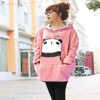 Womens Cute Panda Hoodie Casual Sweatshirt Long Loose Pullover Coat X'mas Tops Pink