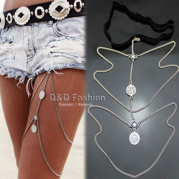 Vintage Silver Gypsy Coin Thigh Harness Bikini Garter Stretch Body Leg Chain Jewelry 2017 New