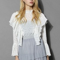 Retro Creases and Frills Top in White Dots