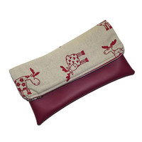 Foldover clutch with reindeer/ Vegan leather clutch/ Burgundy foldover clutch