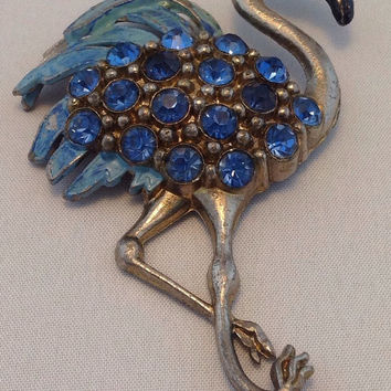 Beautiful Art Deco Figural Brooch Blue Rhinestone Flamingo Brooch 1930s Flamingo Figural Brooch