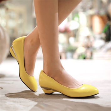 Brand New Fashion womens Round Toe candy color Slip On low heel Pumps sweet Casual boat shoes All size Eur35-47