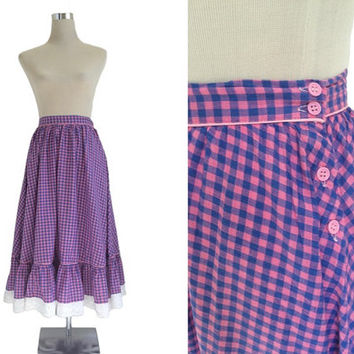 Vintage Gingham Skirt - XS - Purple And Pink With White Lace Trim - Full Skirt Prairie Swing Dance Summer Skirt