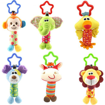 Crib Tinkle Hand Bell Hanging Baby Rattle Pram Toys Stroller Infant Baby Toys 0-12 Months Monkeys Lions Elephants Deer Dog Chick