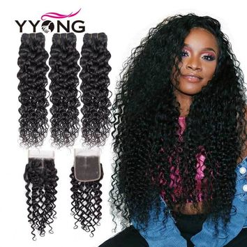 YYong Hair Brazilian Hair Weave Bundles With Closure Water Wave 3 Bundles With Closure 100% Human Hair Bundles With Lace Closure