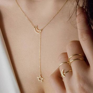 Sale! Dubai New Fashion Women Jewelry Simple Moon Star Necklace Gold Pendant Necklace Wedding Jewelry Accessories