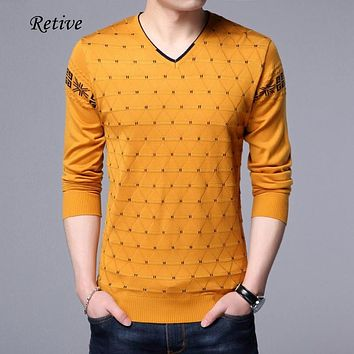 Retive Mens Pullover Sweater For 2017 Autumn V-Neck Full Sleeve Dot Clothing Casual Comfortable Cashmere Sweaters For Men 1717