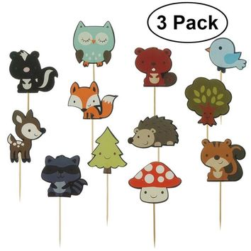 3 Pack of 12Pcs Cute Woodland Animals Cake Topper Decorative Cupcake Picks Dessert for Wedding Birthday Party Supplier