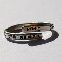Bob Marley Lyric Ring 'None But Ourselves Can Free Our Minds'- Sterling Silver, handmade, Redemption Song, Music, Reggae