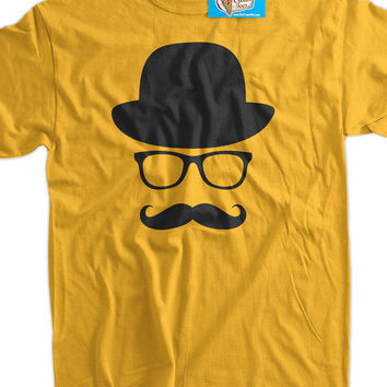 Fancy Moustache Glasses Top Hat Hipster Mustache Hat Wayfarer Tshirt T-Shirt Tee Shirt Mens Womens Ladies Youth Kids Geek Funny