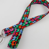 Elephant Key Lanyard Teacher Lanyard Elephant Key Ring Elephant Key Fob Elephant Car Key Ring Elephant Wristlet Rainbow Elephant Lanyard