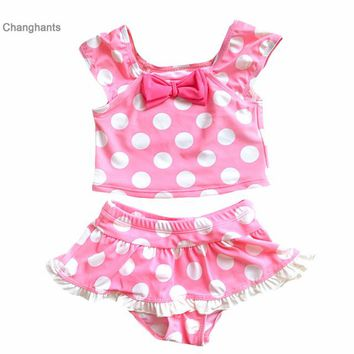 New Models 1-8 year old kid Baby Girl one piece Swimsuit Children sling swimwear Girls Pink with White Dots Swim Summer Wear