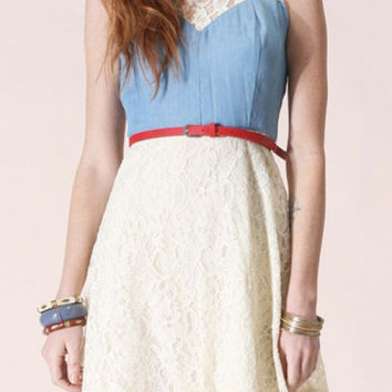 Dress - Altruistic Pledge Belted Sleeveless Denim and Lace Dress
