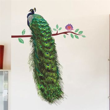 3D Peacock On Branch Feathers Wall Stickers/ Vivid Wall Decals Home Decor Art