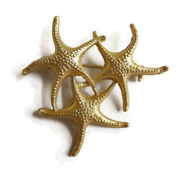 Vintage Triple Starfish Brooch