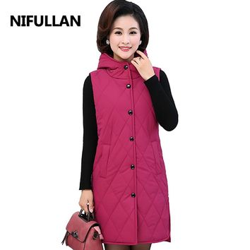 NIFULLAN Long Hooded Plaid Waistcoat Winter Fashion Mother Warm Vest Fashion Plus Size Women Sleeveless Cotton-Padded Outwear