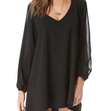 Black Long Sleeve V-Neck Chiffon Dress