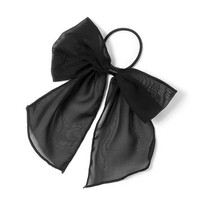 Lightweight Black Bow Ponytail Holder  | Claire's