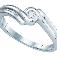 Diamond Fashion Ring in 10k White Gold 0.05 ctw