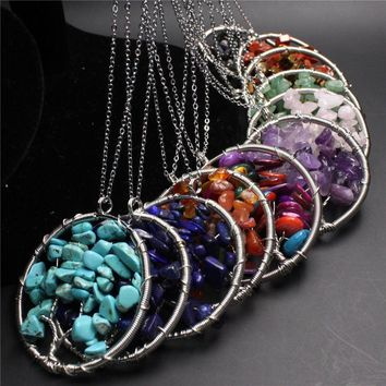 7 Chakra Reiki Healing Natural Stone Pendant Necklace (12 Colors)