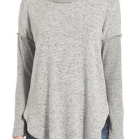 Bobeau Rib Long Sleeve Fuzzy Sweatshirt (Regular & Petite) | Nordstrom