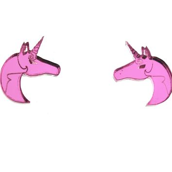 Unicorn Earrings in Mirror Pink