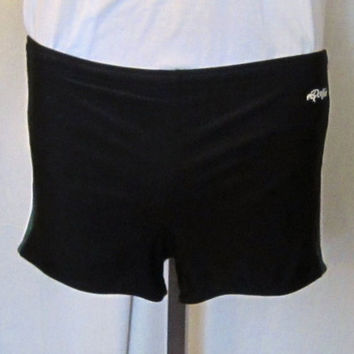 Vintage 80s SPANDEX SWIM BEACH Gym Pool Medium Lined Dolphin Speedo Style Black Shorts