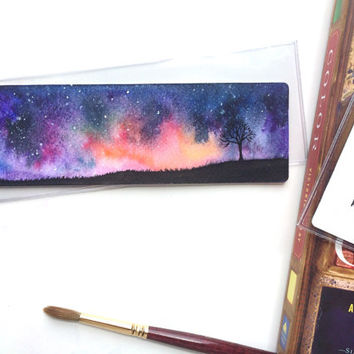 Lonely Tree Bookmark (original watercolor painting)