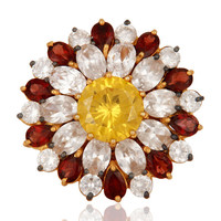Natural Garnet, Citrine And CZ Gold Plated Sterling Silver Floral Cocktail Ring