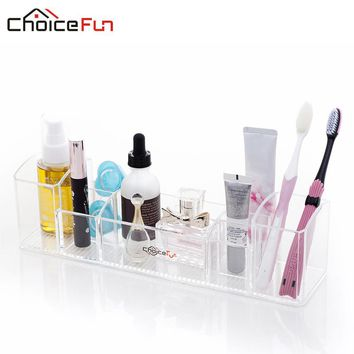 CHOICEFUN Multi-functional clear acrylic countertop toilet trayToothbrush and cosmetic storage bathroom organizer for makeup
