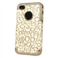 Top Seller Bling Glitter Rhinestone Leopard Pattern Hard Case Cover for Iphone 4 4g 4s Gold