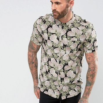 Religion Short Sleeve Shirt With Pineapple Print at asos.com