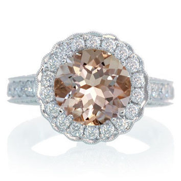 Morganite or Aquamarine Vintage design Diamond Halo Semi Mount Engagement Wedding Anniversary Ring