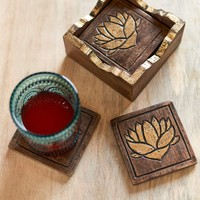 Set of Six Gold Lotus Coasters