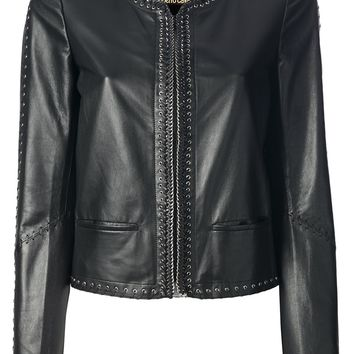 Roberto Cavalli Lace Up Leather Jacket