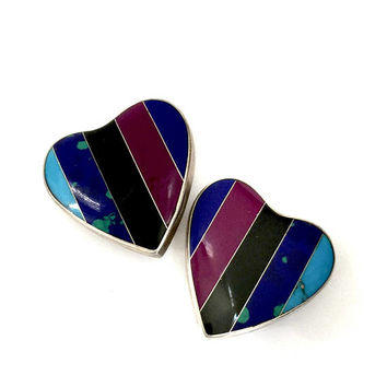 Taxco Sterling Silver Gemstone Earrings, Large Hearts, Inlayed Gemstones Turquoise Azurite & More, Vintage Statement Clip-on Earrings, CII