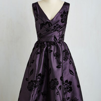 Vintage Inspired Long Sleeveless Fit & Flare Posh at the Party Dress in Plum