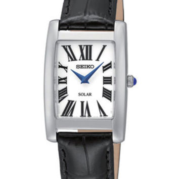 Seiko Solar Ladies Dress Watch - Rectangular Case - White Dial - Black Leather